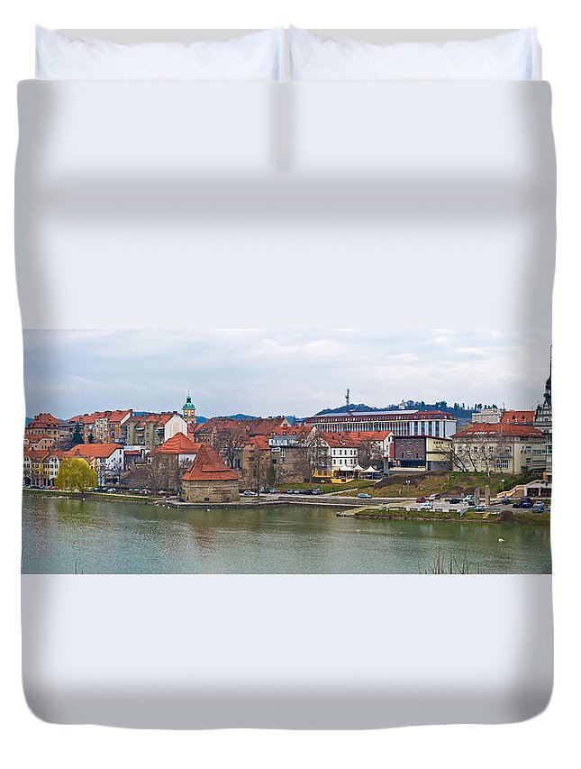 Riverfront Duvet Cover featuring the photograph Town Of Maribor Riverfront Panoramic by Brch Photography