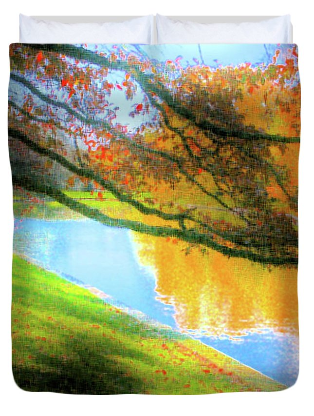 Ebsq Duvet Cover featuring the photograph Town Pond by Dee Flouton