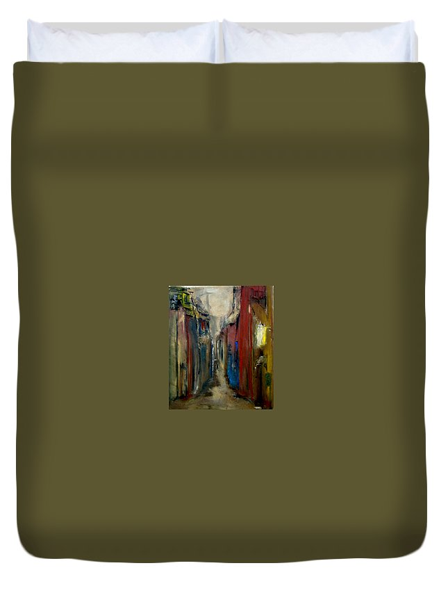 Abstract Duvet Cover featuring the painting Town by Rome Matikonyte