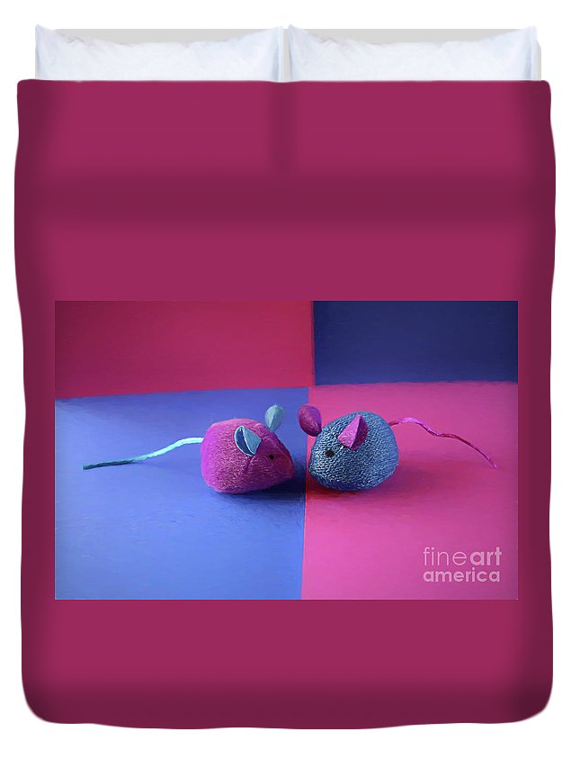 Toy Duvet Cover featuring the digital art Toy Mice by Elisabeth Lucas