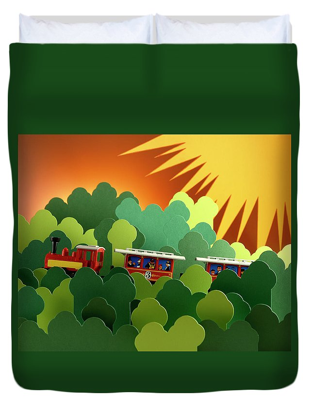 Train Duvet Cover featuring the photograph Toy Train by Stefania Levi