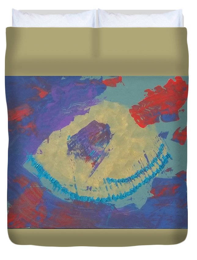 Abstract Duvet Cover featuring the painting Trace by Cherae Espino