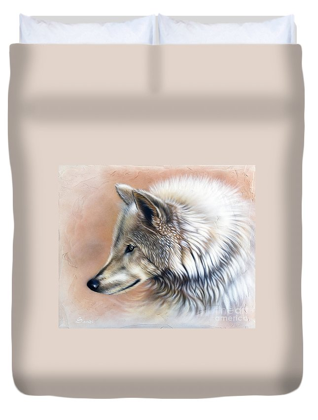 Wolves Duvet Cover featuring the painting Trace IIi by Sandi Baker