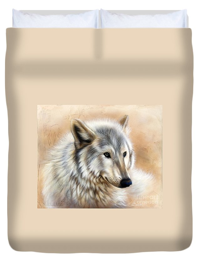 Acrylic Duvet Cover featuring the painting Trace by Sandi Baker