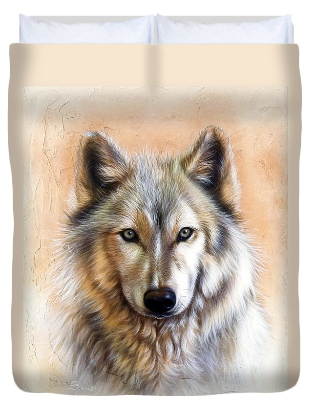 Wolves Duvet Cover featuring the painting Trace Two by Sandi Baker