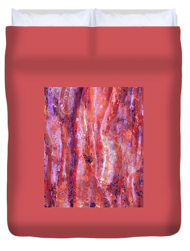 Abstract Duvet Cover featuring the digital art Traces by Rachel Christine Nowicki