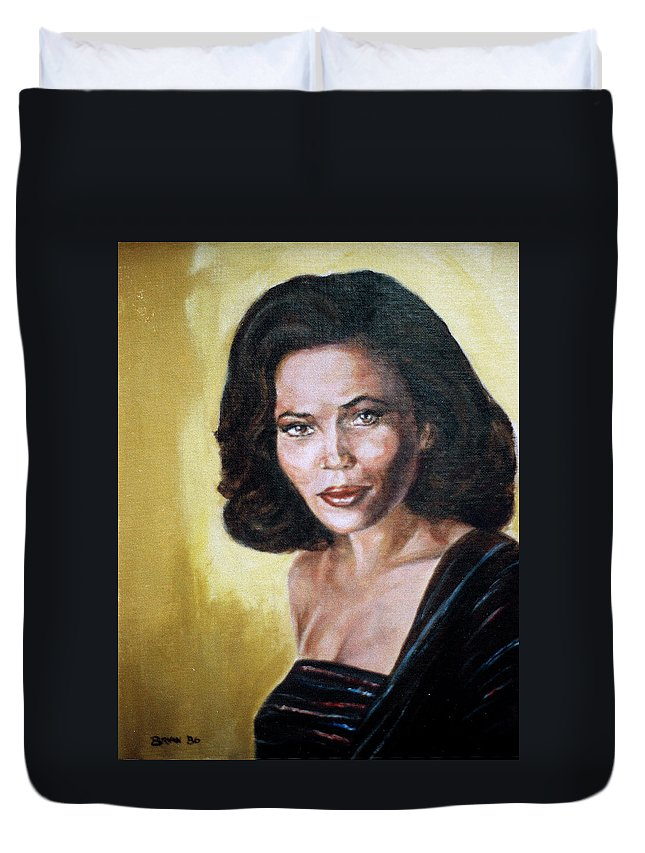 Tracey Ross Duvet Cover featuring the painting Tracey Ross by Bryan Bustard