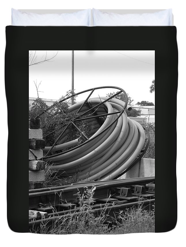 Blacka Nd White Duvet Cover featuring the photograph Tracks And Cable by Rob Hans