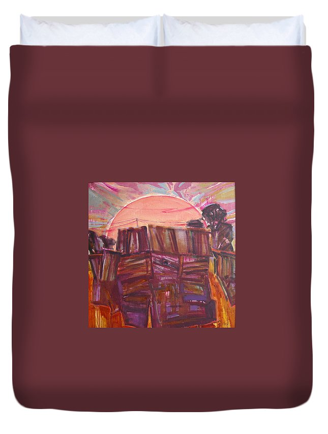 Oil Duvet Cover featuring the painting Tracks by Sergey Ignatenko