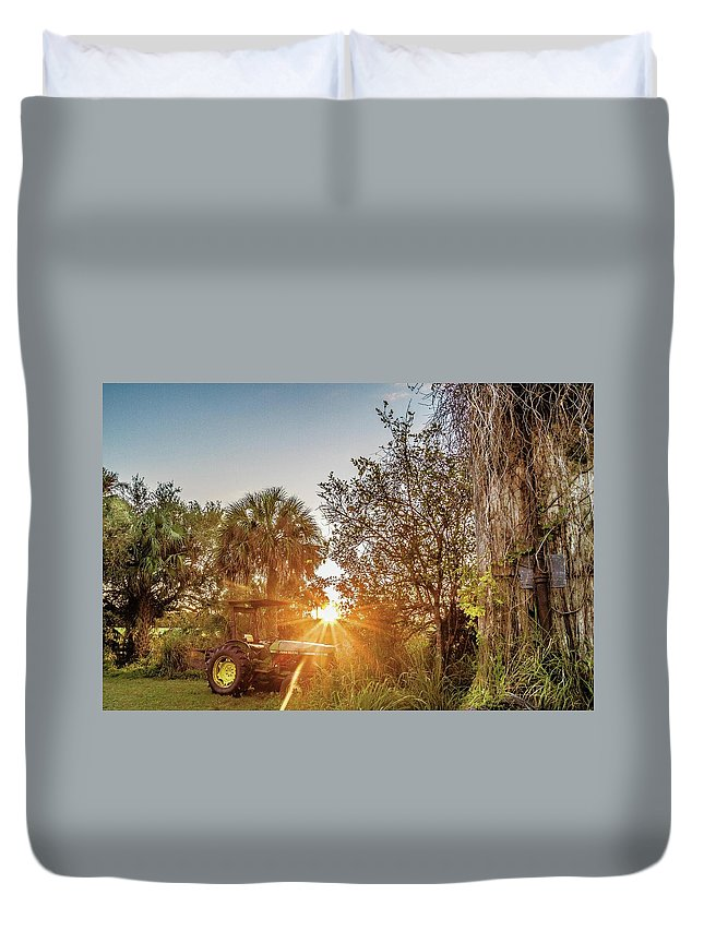 Tractor Duvet Cover featuring the photograph Tractor At Sunset by Clyde Scent