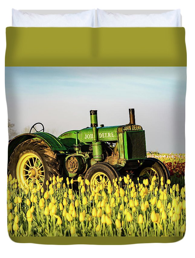 Farm. Tractor Duvet Cover featuring the photograph Tractor In A Field by William Downs