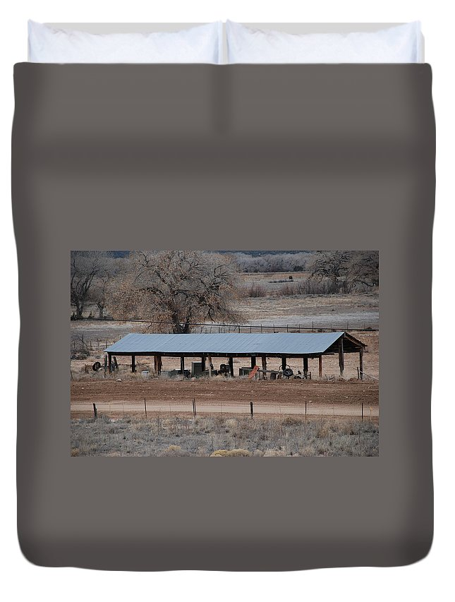 Architecture Duvet Cover featuring the photograph Tractor Port On The Ranch by Rob Hans