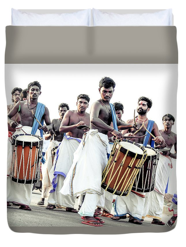 Asia Duvet Cover featuring the photograph Traditional Drummers by Jijo George