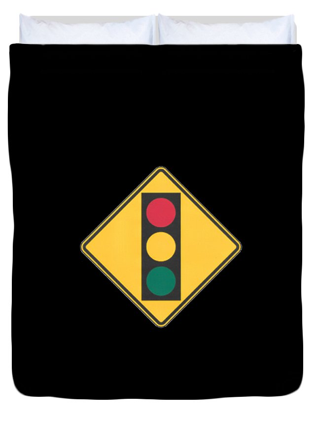 Signs Duvet Cover featuring the painting Traffic Light T-shirt by Herb Strobino