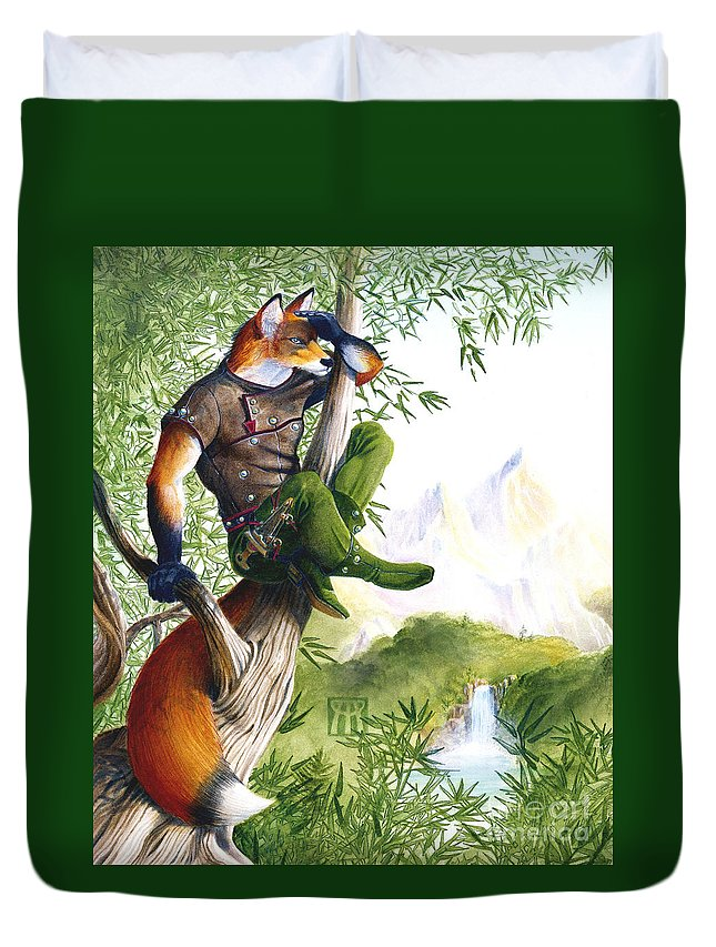 Fantasy Duvet Cover featuring the painting Trail Blazing Fox by Melissa A Benson