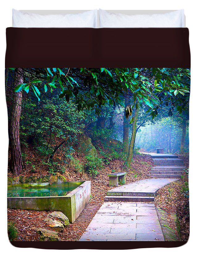 Trail Duvet Cover featuring the photograph Trail In Woods by James O Thompson