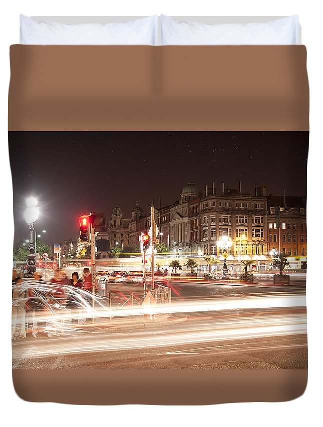 Ireland Duvet Cover featuring the photograph trail lines over the Liffey by Dennis Ludlow