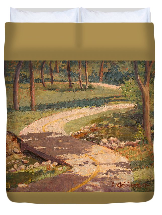 Trail Duvet Cover featuring the painting Trail Shadows by Becky Christenson