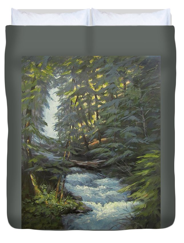 Waterfall Duvet Cover featuring the painting Trail To The Falls by Karen Ilari