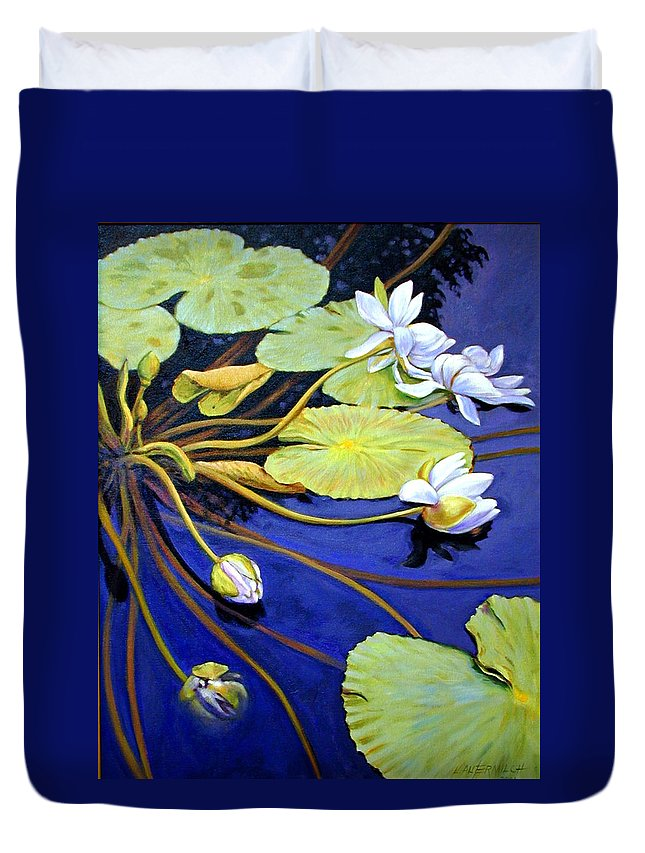 Water Lilies Duvet Cover featuring the painting Trailing Beauty by John Lautermilch