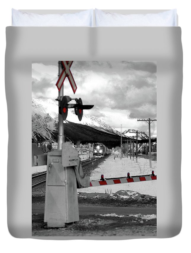 Canmore Duvet Cover featuring the photograph Train A Comin by Lisa Knechtel