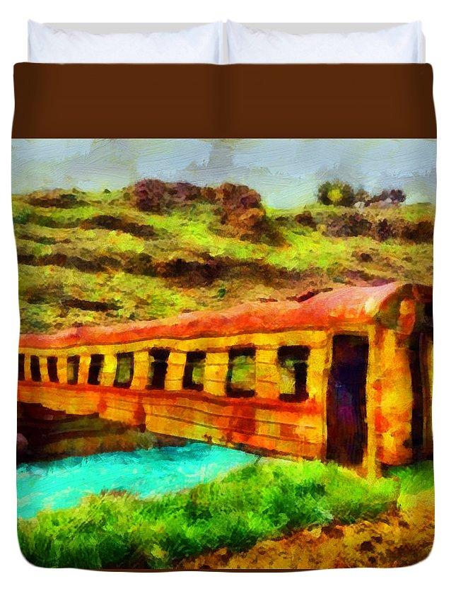 Train Bridge Duvet Cover featuring the painting Train Bridge by George Rossidis