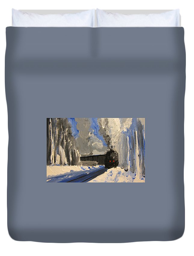 Landscape Duvet Cover featuring the painting Train by Patricia Awapara
