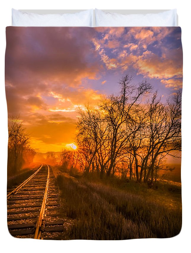 Arrival Duvet Cover featuring the photograph Train Track Sunrise by Brian Stevens