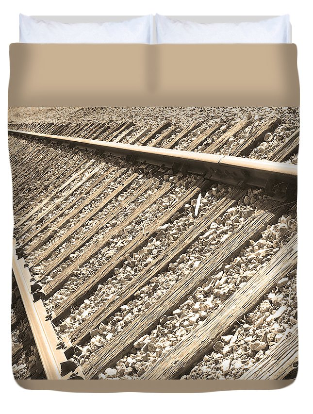 Train Duvet Cover featuring the photograph Train Tracks Sepia Triangular by James BO Insogna