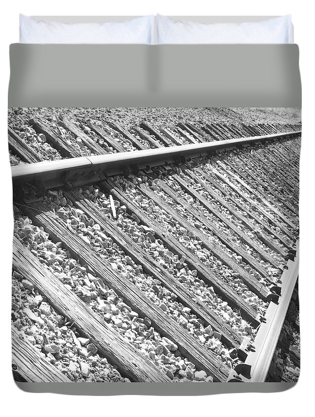 Train Duvet Cover featuring the photograph Train Tracks Triangular In Black And White by James BO Insogna