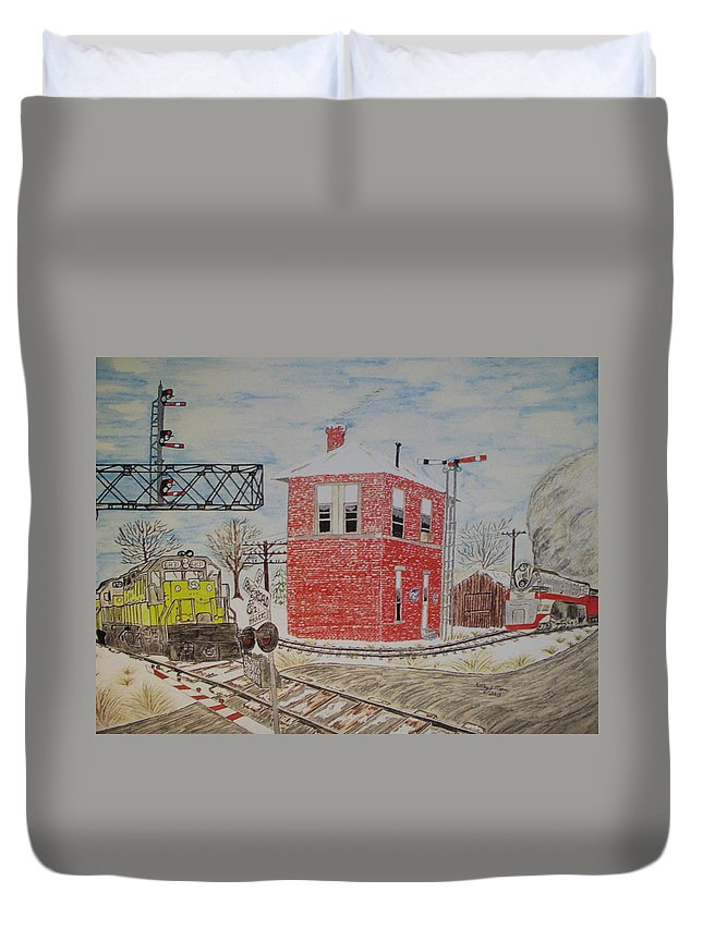 Train Duvet Cover featuring the painting Trains In Motion by Kathy Marrs Chandler