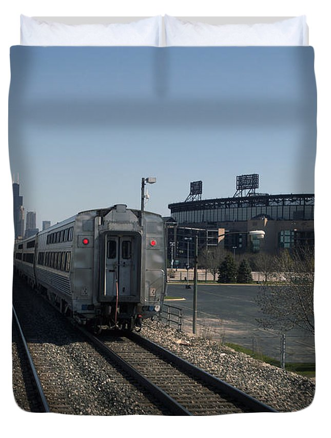 Metra Duvet Cover featuring the photograph Trains Passing The Home Of The Chicago White Sox by Thomas Woolworth