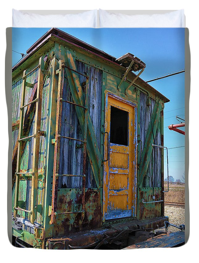 Passenger Duvet Cover featuring the mixed media Trains Wooden Box Car Yellow Door by Thomas Woolworth