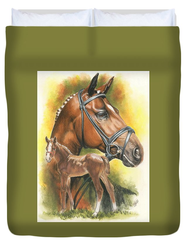 Jumper Hunter Duvet Cover featuring the mixed media Trakehner by Barbara Keith