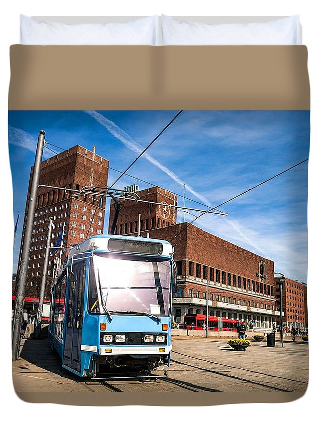Oslo Duvet Cover featuring the photograph Tram In Front Of Oslo City Hall by Leonardo Patrizi