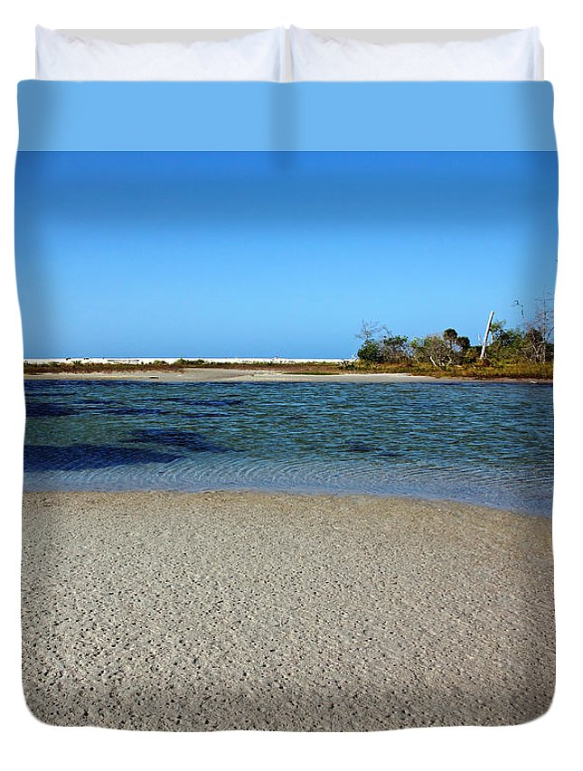 Manasota Key Duvet Cover featuring the photograph Tranquil Blue by Debbie Oppermann