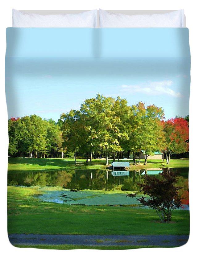 Tranquil Landscape At A Lake Duvet Cover featuring the painting Tranquil Landscape At A Lake 5 by Jeelan Clark