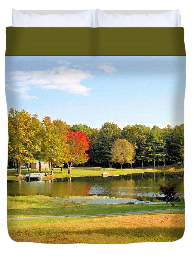 Tranquil Landscape At A Lake Duvet Cover featuring the painting Tranquil Landscape At A Lake 7 by Jeelan Clark