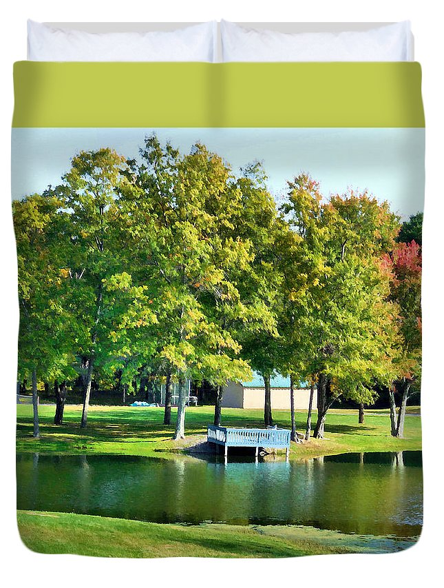 Tranquil Landscape At A Lake Duvet Cover featuring the painting Tranquil Landscape At A Lake 8 by Jeelan Clark