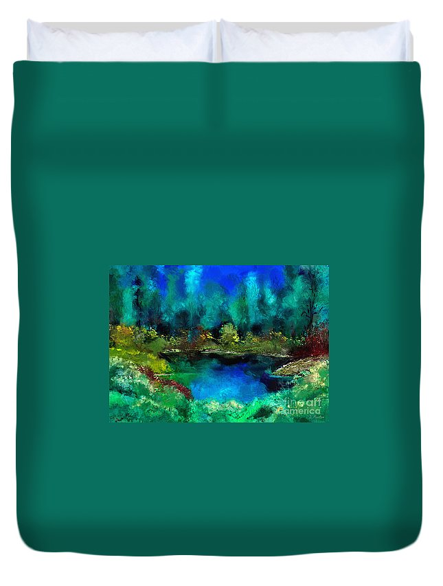 Pond Duvet Cover featuring the digital art Tranquil Pond by Dee Flouton