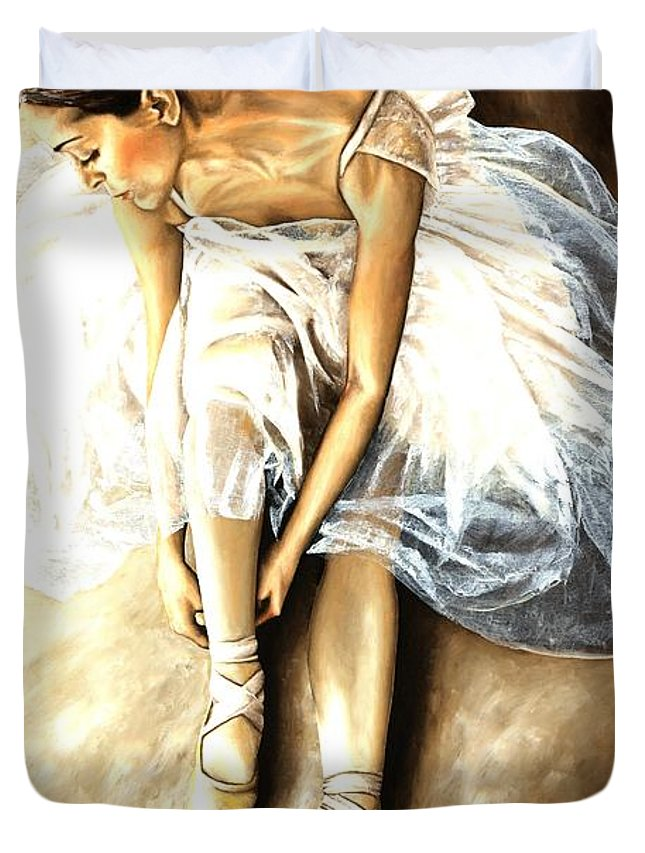 Ballet Duvet Cover featuring the painting Tranquil Preparation by Richard Young