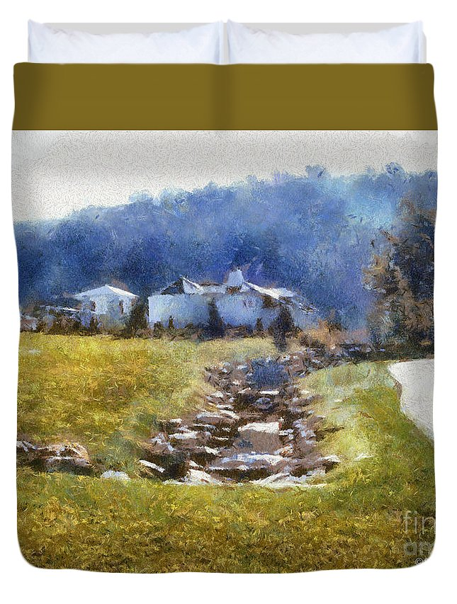 Homestead Duvet Cover featuring the painting Tranquil Scene by Paulette B Wright