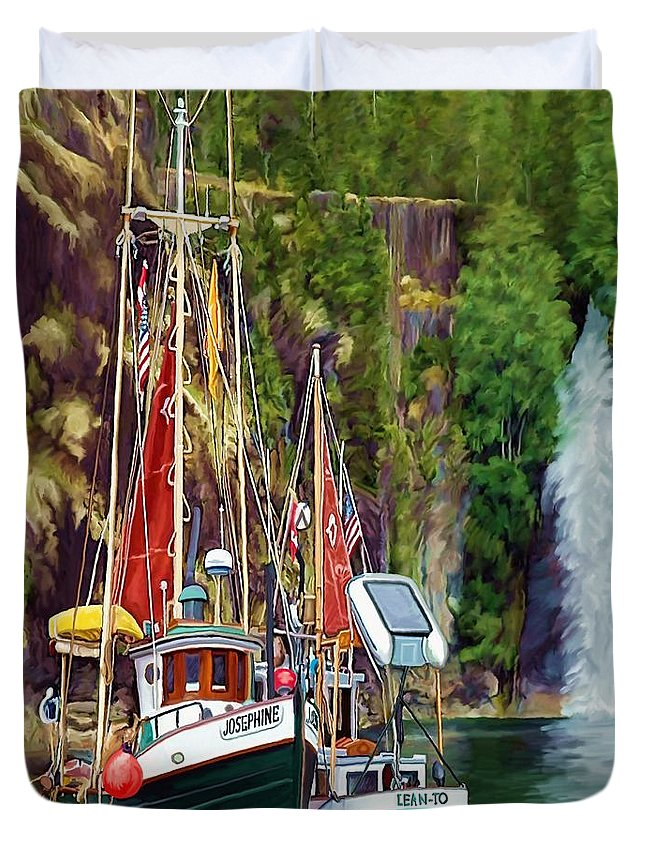 Boats Duvet Cover featuring the painting Tranquility by David Wagner