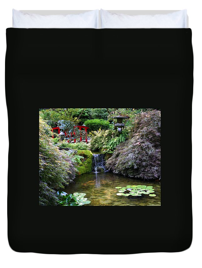 Japanese Garden Duvet Cover featuring the photograph Tranquility In A Japanese Garden by Laurel Talabere