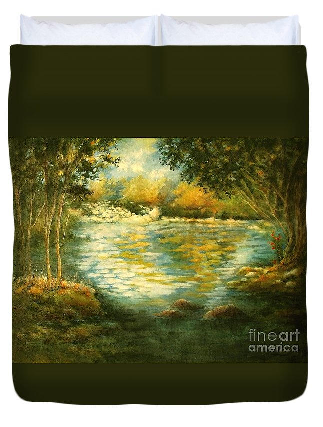 Canvas Print Landscape;river;landscape; Water; Trees; Flowing River; Rocks; Nature; Lake Duvet Cover featuring the painting Tranquility by Madeleine Holzberg