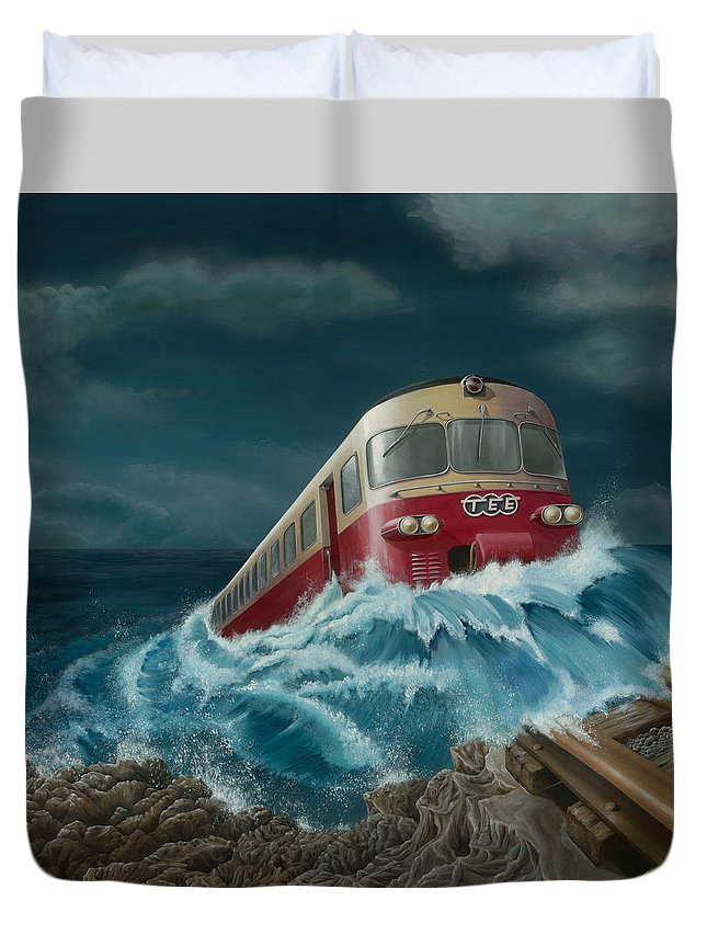 Surreal Duvet Cover featuring the painting Trans Europe Express by Patricia Van Lubeck