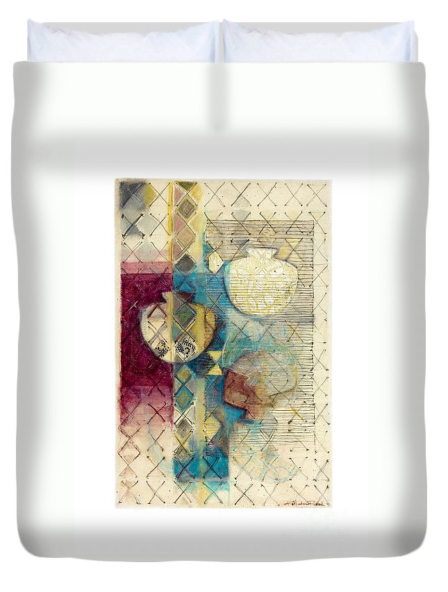 Mixed-media Duvet Cover featuring the painting Trans Xs No 1 by Kerryn Madsen- Pietsch