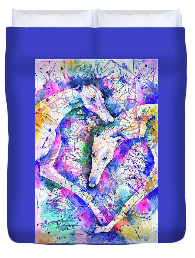 Greyhound Duvet Cover featuring the painting Transcendent Greyhounds by Zaira Dzhaubaeva