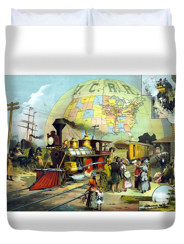 Trains Duvet Cover featuring the painting Transcontinental Railroad by War Is Hell Store