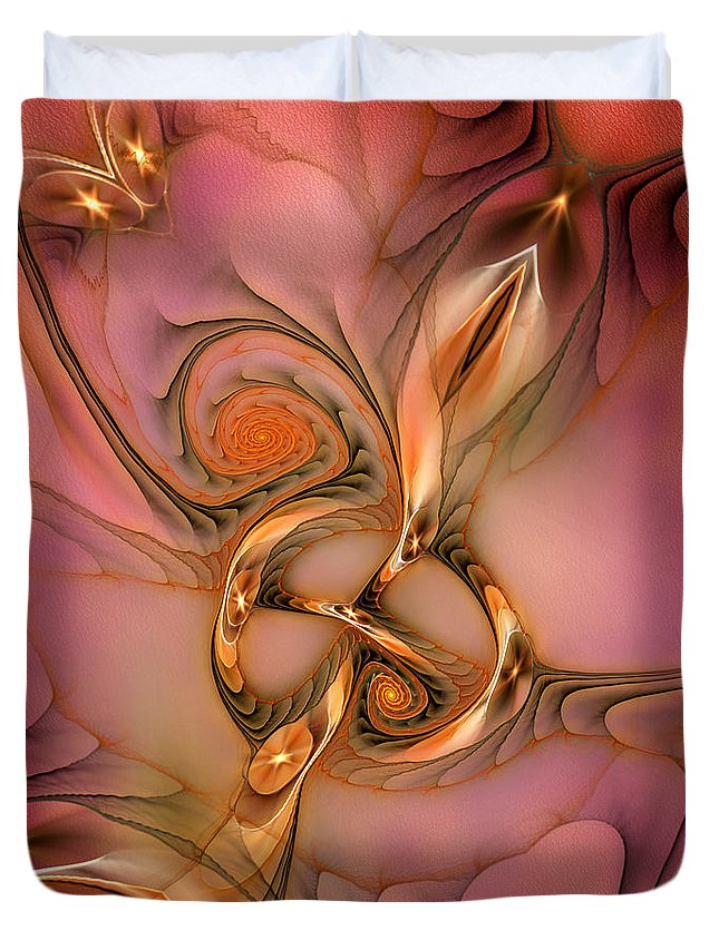 Abstract Duvet Cover featuring the digital art Transferring Affections by Casey Kotas